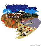 No.2021-Towel-029(ハンドタオル) :  秋のグランピング コーギーズ 紅葉と湖 夜バージョン   ハンドタオル