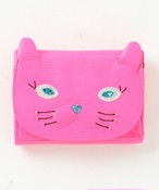 ねこミニ財布 Neon pink/Neon yellow/Metallic blue