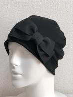 シンプルリボンのケア帽子 黒