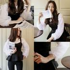 puff sleeve shirts + vest onepiece 1245