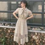 【dress】メッシュ切り替えしチェック柄リボン付きワンピース