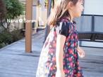 ふんわりダブルガーゼ♪椿柄の清楚なワンピース 赤椿×ネイビー