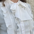 (LOOK) bow tie frill blouse