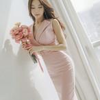 ウエストマーク ドレス S〜XL 膝丈 Vネック エレガント◎結婚式やお呼ばれにも