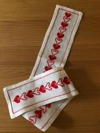 北欧 赤いハート刺繍のリネンのロングライナー ヴィンテージ