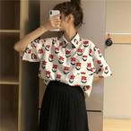 【送料無料】 ゆるかわシャツ♡ フラワー プリント 五分袖 シャツ 羽織り カジュアル レトロ