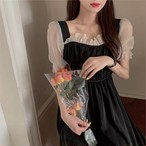 black lady tulle dress
