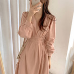 3色 Vネック ワンピース ミモレ丈 リボン ピンク ブラック ベージュ レディース ファッション 韓国 オルチャン
