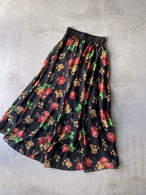 vintage floral sheer skirt - black -