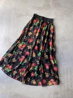vintage floral sheer skirt - black -