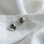 vintage silver and malachite heart post earring