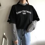 【tops】Tシャツカジュアルストライプ柄プルオーバーハイネック