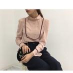 VB-091(cherry pattern tuck blouse)