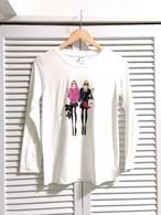 おしゃれ女の子柄ロングTシャツ③ ホワイト