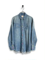 6.5oz Denim Western Shirt / special wash / marblechocolate