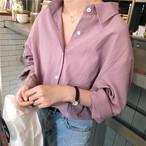 【送料無料】カラーシャツ ブラウス トップス 長袖 襟付き フロントボタン ドロップショルダー オーバーサイズ カラバリ豊富 くすみカラー シンプル 無地 春 カジュアル 大人可愛い 韓国 デイリー コーデ お出かけ 女子会 学生 通学
