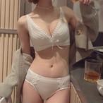 (A-Cカップ)【下着セット】セクシー春後ろホックワイヤーなしブラ&ショーツセット33781513