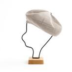 mature ha./beret top gather linen/light greige