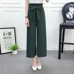 【bottoms】ファッション無地シンプル気質リボン付きルーズ合わせやすいガウチョパンツ