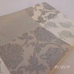 桐生織 白と銀鼠の市松の半幅帯