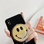 アクセサリー グリップ グリップトック スマホグリップ iPhoneケース スマホケース キラキラフレークグリップ スマイル ニコちゃん クリア レディース かわいい 大人 おしゃれ 韓国