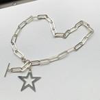シルバー925 Star チャーム・楕円モダンチェーン・トグルネックレス