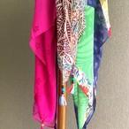 リサイクルサリー スカーフ タッセル付き 【フェアトレード商品】 【アップサイクル商品】