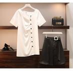 [予約開始]ロングボタンT+アクセントベルトスカート