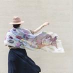 近江リネン 'Paint, Panthers & Portraits' Beige ロングストール