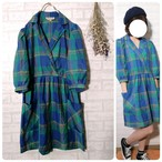 ○ 80s vintage colorful check one piece ○