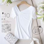 【tops】肌触り抜群斜め襟スタイリッシュTシャツ