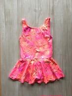 キッズ水着 130cm 女の子 子供 水着 南国 トロピカル 模様 ピンク オレンジ ゴールド ワンピース 現品1点