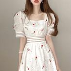 2色 lady フラワー刺繍 透かしレースワンピース c0524