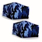 立体マスク ポケット付き 迷彩柄 ブルー 2枚入り
