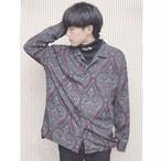 韓国ファッション ペイズリー開襟シャツ