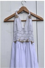 ◆Mon ange Louise◆ CROCHET HALTER DRESS(white)Sサイズ リゾートワンピース