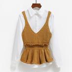 【tops】6色ニットノースリーブVネックファッションウエスト絞りベスト