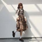 【送料無料】 レトロガーリーセット♡ フリルネック ブラウス シャツ × チェック柄 ミモレ丈 ワンピース ジャンパースカート