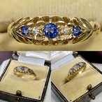 イギリス1910年製アンティークリングK18 指輪 サファイア ダイヤモンド