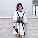 【新作10%off】retro sling + long shirts 2piece set 2715