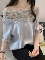 【tops】Large size off shoulder lace chiffon shirt