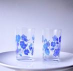 【ブルーフラワー柄コップ】 タンブラー グラス 青 花柄 昭和レトロ