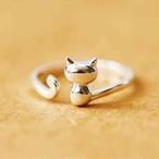 猫 リング シルバー 指輪  ねこ アクセサリー S925 サイズ調整 roi1