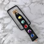【送料無料】縁ブラッククリアケース&レインボースタッズ ストラップ  iPhoneケース