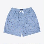 Floral Corduroy Drawstring Shorts(Dusty Blue)