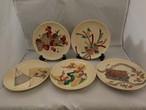 九谷変わり皿(5客) Kutani porcelain five plates