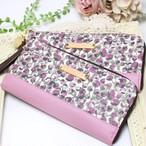 上品なピンクパープルのつぼみ柄リバティプリント【Eliza's】を使った長財布