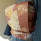 正絹 長春色の刺繍の袋帯