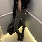 Bゴールドボタンスキニーデニム スキニーデニム デニム 韓国ファッション