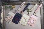 【卒入学祝い】刺繍のパスケース&ストラップセット・ベージュ×小花